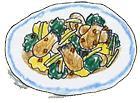 牡蠣とほうれん草の炒め物